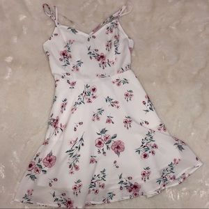 Floral flare white dress